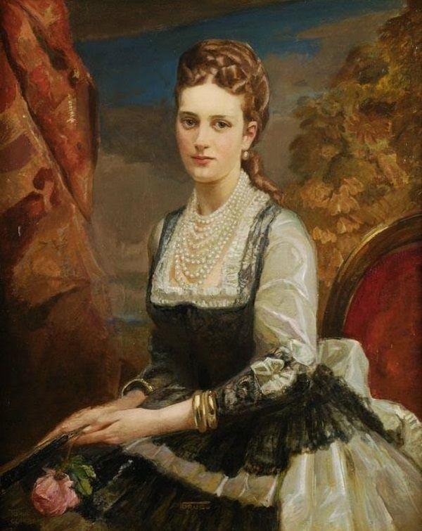 """Królowa inspirowała malarzy. Tu na obrazie Carla Forupa zatytułowanym """"Aleksandra Duńska"""" (fot. domena publiczna)."""