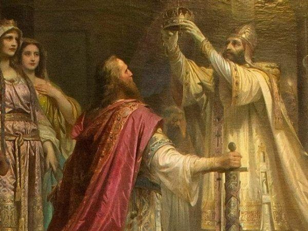 To właśnie w Boże Narodzenie Karol Wielki koronował się na cesarza. Fragment obrazu Friedricha Kaulbacha.