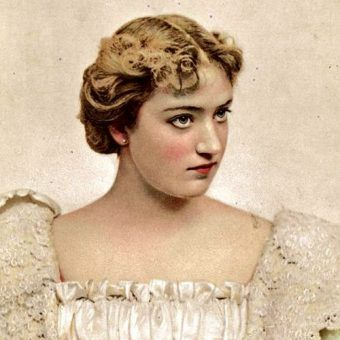 Dziewiętnastowieczna aktorka musiała starannie nakładać grubą warstwę makijażu (fot. domena publiczna).