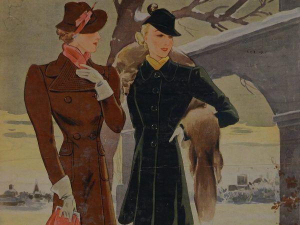 """Dzięki odpowiedniemu prezentowi każda pani mogła poczuć się jak dziewczyna z okładki """"Przeglądu Mody"""" (nr 12/1936)."""