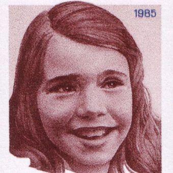Fragment radzieckiego znaczka o wartości 5 kopiejek z 1985 roku, przedstawiającego Samanthę Smith.