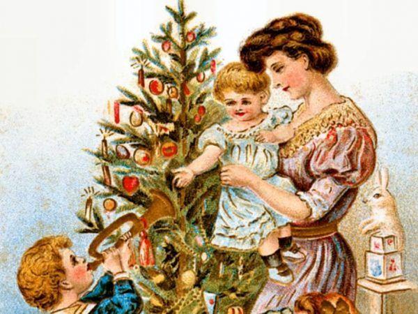Prekursorki świątecznych lampek - świeczki na choince - na pocztówce z epoki wiktoriańskiej.