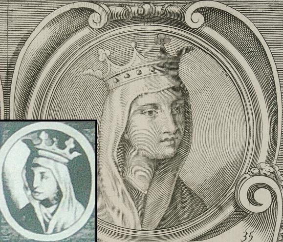 Wizerunek Jadwigi z 1702 roku. W rogu widoczny także wcześniejszy, XVII-wieczny wariant tego portretu z wyraźnie przerośniętym nosem.