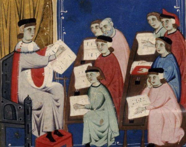 Średniowieczna szkoła na włoskiej miniaturze z XIV stulecia