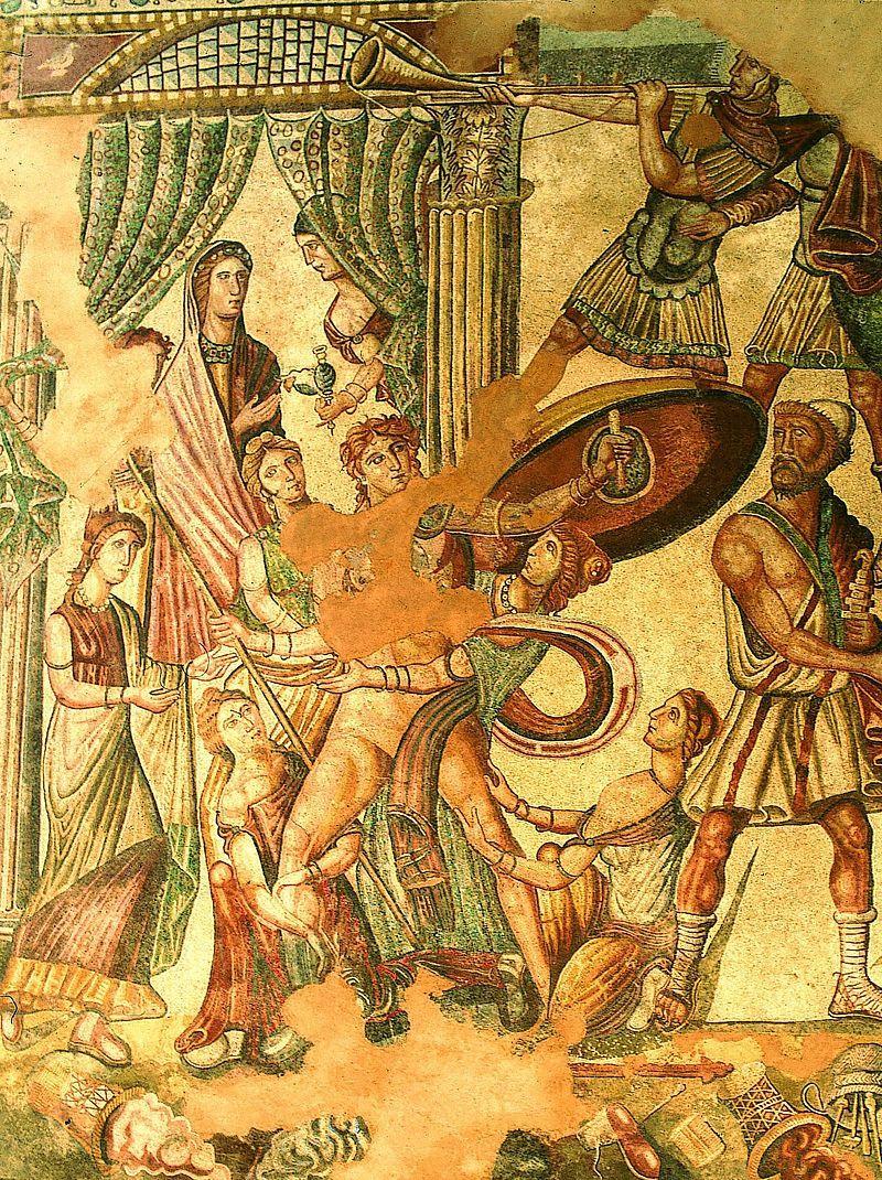 Achilles na Skyros. Właśnie tu, wedle legendy, Odyseusz znalazł przebranego za dziewczynę przyszłego herosa. Jednak żeńskie ubrania nie przeszkadzały młodemu wojownikowi w podbijaniu tak kobiecych, jak i męskich serc.
