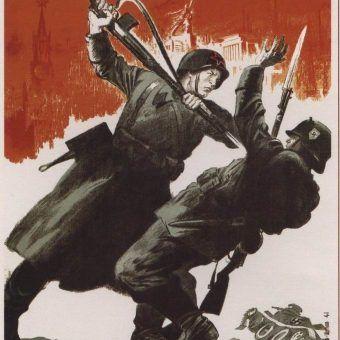 Na ilustracji fragment sowieckiego plakatu z okresu oblężenia Leningradu