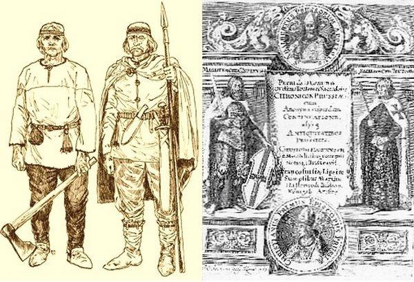"""Negatywny obraz Prusów stworzony przez Piotra z Dusburga był na rękę zarówno polskim książętom, jak i Krzyżakom. Na ilustracji po lewej pruscy wojownicy, po prawej - strona tytułowa """"Kroniki ziemi pruskiej"""" z XVII wieku."""