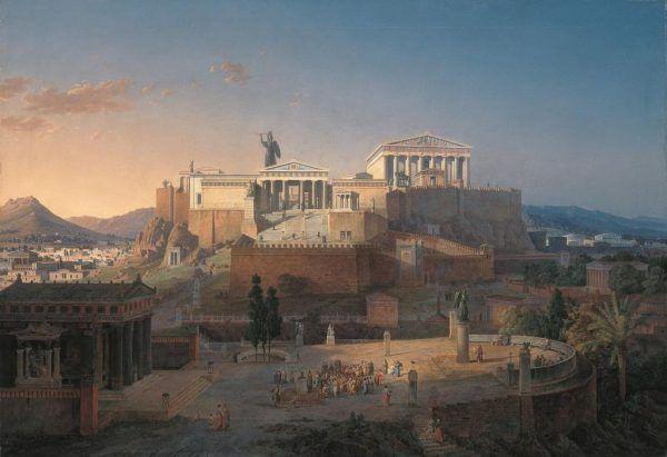 Panatenaje były świętem upamiętniającym narodziny bogini Ateny. Jednym z największych zaszczytów, jaki mógł spotkać ateńską pannę było wzięcie udziału w uroczystości jako tzw. kanefora. Na ilustracji znajduje się Akropol - rekonstrukcja miejsca kultu bogini Ateny według Leo von Klenze.