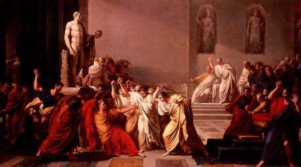 """Ostatnia żona Cezara, trzecia z kolei, ponoć przeczuwała, że na jej męża nastąpi zamach. W przeciwieństwie do Pompei, poprzedniej małżonki, Cezar chyba musiał obdarzać ją uczuciem. Wiedząc bowiem, że jest bezpłodna chciał zmienić rzymskie prawo, tak, aby dopuścić wielożeństwo. Na ilustracji """"Zabójstwo Cezara"""" pędzla Vincenza Camuccini (1805)."""