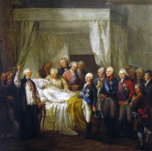Śmierć Stanisława Augusta Poniatowskiego. Autor: Marcello Bacciarelli.