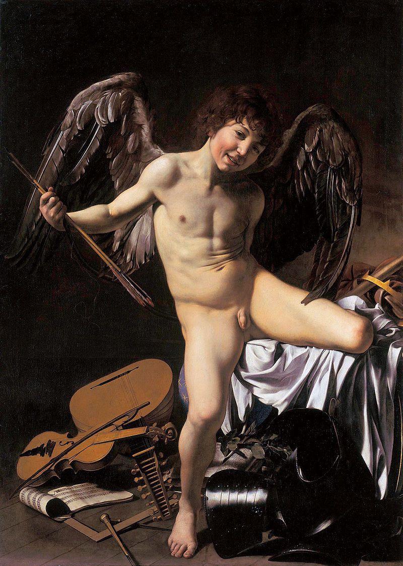 """""""Amor Vincit Omnia"""" (Miłość zwycięży wszystko) pędzla Caravaggia jest często interpretowany jako wyidealizowany wyraz miłości pederastycznej. Jej pierwszym symbolem była jednak para ateńskich mężczyzn, Harmodios i Aristogejton."""