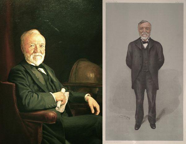 """Trzydziestoletni milioner? W XIX wieku nie było to powszechne zjawisko. Dlatego postać Andrew Carnegie pojawiała się często w przestrzeni publicznej, tak na obrazach (na ilustracji po lewej - artysta nieznany), jak i karykaturach (po prawej autorstwa Leslie Ward, """"Vanity Fair"""")."""