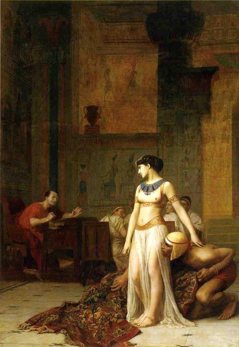 """Ze wszystkich kobiet Cezara historia zapamiętała głównie Kleopatrę. Rzymski dyktator jednak nie stronił od płci pięknej, uwodząc nawet mężatki swoich """"towarzyszy broni"""". Na ilustracji obraz Jean-Léona Gérôme """"Kleopatra i Cezar"""" (1866)."""