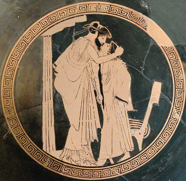 Kto by pomyślał, że zwykła ludzka zazdrość może pobudzić do chęci dokonania zamachu stanu? Jak widać starożytni ulegali emocjom, nie bacząc na konsekwencje, zwłaszcza gdy chodziło o miłość... Na ilustracji fragment attyckiego kyliksu (naczynia służącego do picia wina) przedstawiający kochanków.