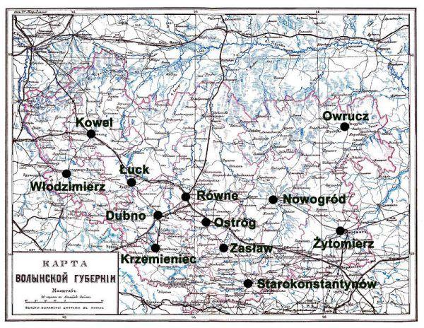 W wyniku rozbiorów wschodnie ziemie Rzeczpospolitej znalazły się w granicach Imperium Rosyjskiego. W tym Wołyń, gdzie doszło do opisanej w artykule zbrodni. Na ilustracji mapa Guberni Wołyńskiej.