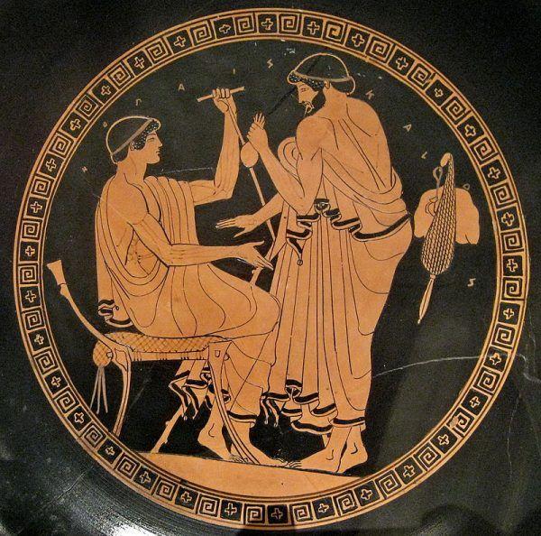 Mężczyzna próbujący namówić młodego chłopaka do stosunku seksualnego za wynagrodzeniem. Jak widać, nawet wyidealizowana przez Greków pederastia często mieszała się z prostytucją... Na ilustracji fragment attyckiego kyliksu.