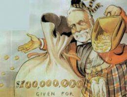 """Filantrop czy milioner z wyrzutami sumienia? Kim był Andrew Carnegie i jak został jednym z najbogatszych ludzi XIX-wiecznej Ameryki? Na ilustracji fragment karykatury Louisa Dalrymple przedstawiającej Carnegie (magazyn """"Puck"""" 1903)."""