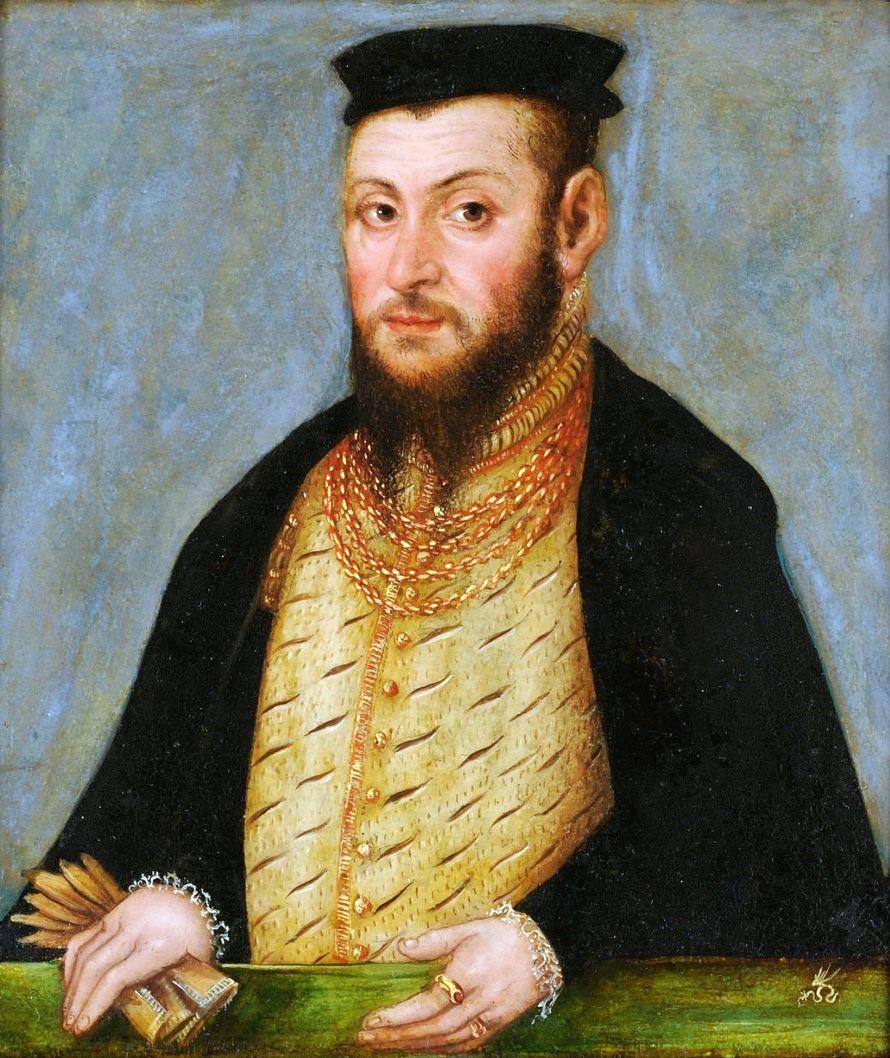 Portret Zygmunta Augusta ok. 1553 roku z warsztatu Łukasza Cranacha Młodszego.