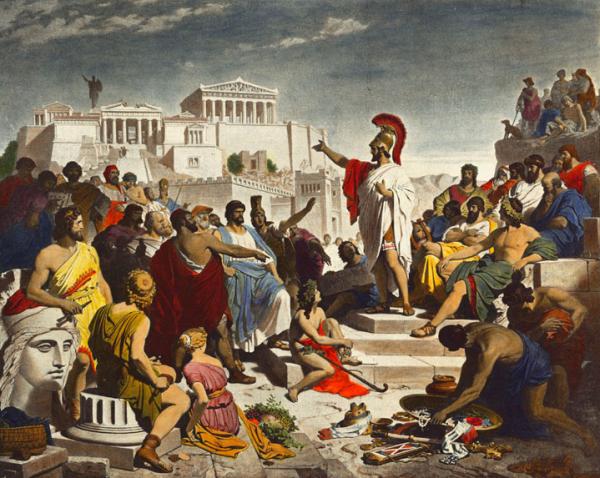 """Demokracja w Atenach kojarzy się przede wszystkim z imieniem Peryklesa (na ilustracji pędzla Philippa Foltza), polityka, retora i reformatora ateńskiej demokracji. Jej powstanie datuje się jednak na VI w. p.n.e., kiedy to dwaj """"tyranobójcy"""" dokonali zamachu na jednego z synów Pizystrata, Hipparcha."""