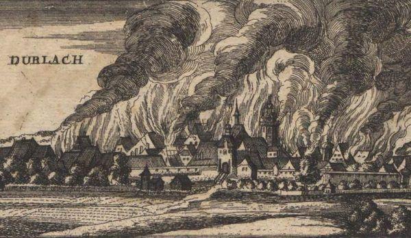 W czasie wojny dziesięcioletniej Francuzi wykazali się bezwzględną brutalnością. Na ilustracji płonące Durlach, jedno z około dwudziestu zniszczonych przez nich miast.