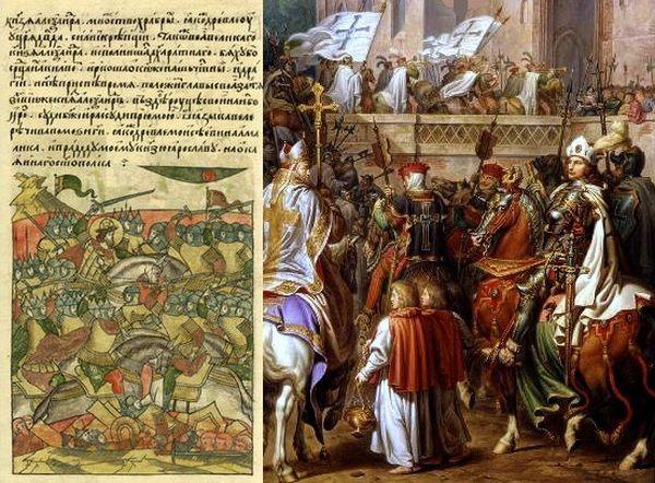 Pod pozorem chrystianizacji Krzyżacy dokonali prawdziwego ludobójstwa. Na ilustracji po lewej fragment kroniki opisującej bitwę na jeziorze Pejpus, po prawej - obraz pędzla Karla Wilhelma Kolbego przedstawiający wjazd wielkiego mistrza do zamku malborskiego.
