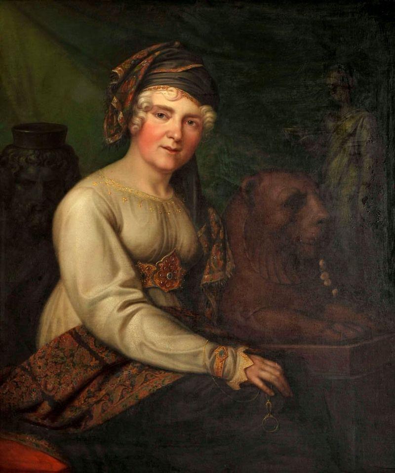 Helena z Przezdzieckich Radziwiłłowa była damą dworu carycy Katarzyny II. Mimo, że poślubiła Michała Hieronima i tak wdawała się w liczne romanse, m.in. ze St. Augustem Poniatowskim. Mąż tolerował jednak wyskoki żony, ponieważ przynosiły mu one zarówno polityczne, jak i materialne korzyści. Na ilustracji portret Heleny pędzla Ernsta Gebauera (1816 rok).