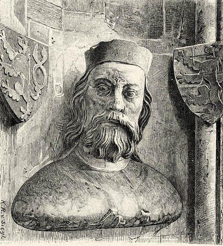 Jan Luksemburski. Rycina przedstawiająca popiersie króla, koniec XIX wieku