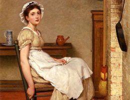 """Amerykański sen dla wielu dziewcząt w XIX wieku okazywał się koszmarem. Zamiast zdobyć dobrą pracę i polepszyć swój los zostawały służącymi traktowanymi jak przedmioty... Na ilustracji fragment obrazu Georga Dunlopa Leslie'go """"Jej pierwsze miejsce""""."""