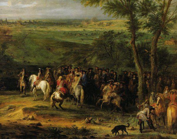 """Panowanie Ludwika XIV upłynęło pod znakiem niekończących się wojen. Na ilustracji obraz Adama Fransa van der Meulena """"Ludwik XIV pod Maastricht""""."""