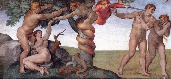 Na wielu chrześcijańskich obrazach w roli zakazanego owocu przedstawia się jabłko. Michał Anioł, malując freski w Kaplicy Sykstyńskiej, zdecydował się jednak na inne rozwiązanie.