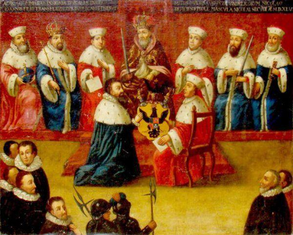 """Mikołaj Radziwiłł """"Czarny"""" przyjmujący od cesarza tytuł książęcy. Jego największe marzenie się spełniło. Nie podejrzewał jednak, że wkrótce potem zaatakuje go choroba, która doprowadzi do jego zgonu. Kto wie, może była to kara za wcześniejsze knowania?"""