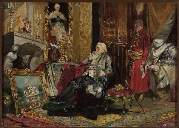 Stanisław August Poniatowski to król, który do dziś wzbudza kontrowersje. Jedni mu współczują, inni wytykają mu nieudolność, jeszcze inni wieszają na nim psy. Jak widać na obrazie, Jan Czesław Moniuszko należał do tych, którzy fanami władcy nie byli. Pozbawił go dostojności, a subtelnie wytknął w rekwizytach wady.