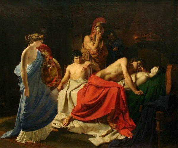 """Śmierć Patroklosa wstrząsnęła Achillesem. Jednak ciało przyjaciela nie zachwyciło go tak, jak Pentezylei, królowej Amazonek, którą wojownik pokonał. Podczas gdy za męskim towarzyszem tylko wzdychał, jej ciało po śmierci ponoć pohańbił. Na ilustracji obraz Nikolai Ge """"Achilles lamentujący nad śmiercią Patroklosa"""" (1855)."""