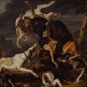Polowanie na niedźwiedzia. Obraz Abrahama Hondiusa