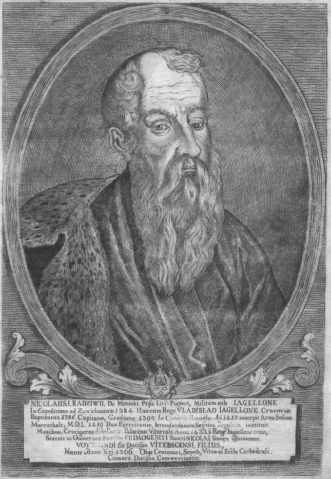 Aktem unii horodelskiej w 1413 roku herb Trąby został przeniesiony na Litwę. Przyjął go bojar Krystyn Ościk z Kiernowa (na ilustracji) adoptowany przez arcybiskupa gnieźnieńskiego Mikołaja Trąbę. Jego syn Radziwiłł, od którego ród przyjął nazwę, nie wywodził się zatem z książąt, ale zwykłej szlachty... Spora kiesa potrafiła jednak zmienić historię.