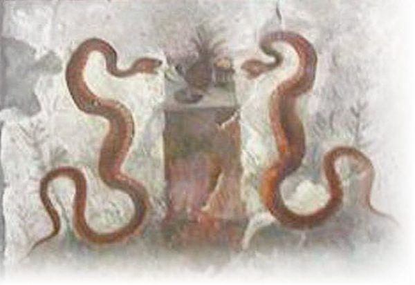 """Ananas na fresku znajdującym się w Domu Efeba w Pompejach ukazuje dwa węże wijące się wokół ananasa. Czy to dowód na wymianę handlową Rzymian z Nowym Światem? Ilustracja z książki """"Zadziwiające życie owoców. Od ananasa do truskawki""""."""