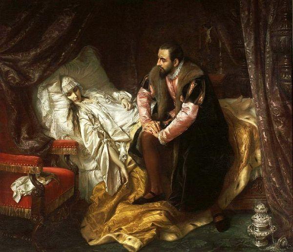 """Z żądzy wpływów Radzwiłłowie nie cofali się przed niczym. Dwaj Mikołaje, aby sięgnąć po władzę, podsunęli ówczesnemu królowi swoją krewną, Barbarę. Nie wszystko jednak ułożyło się po ich myśli. Na ilustracji obraz Józefa Simmlera """"Śmierć Barbary Radziwiłłówny"""" (1860)."""