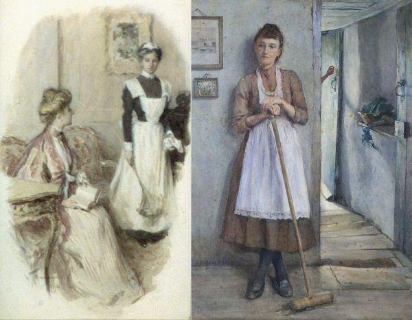 Bogacące się amerykańskie społeczeństwo, mimo zniesienia niewolnictwa, nie wyzbyło się przedmiotowego traktowania służby. Pokojówki były jednymi z najsurowiej traktowanych (na tle całej pomocy domowej) przez swoje mocodawczynie. Na ilustracji po lewej obraz Williama Thomasa Smedleya z 1906 roku, po prawej - Henry'ego Meynella Rheama.