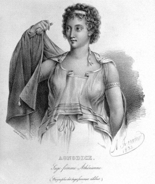 Agnodike, czyli podobno pierwsza kobieta-lekarz w starożytnych Atenach, nie jest uważana powszechnie za postać historyczną. Niemniej jednak jej historia, opowiedziana przez rzymskiego pisarza Gajusza Juliusza Hyginusa, była często stosowana jako argument przez kobiety praktykujące położnictwo.