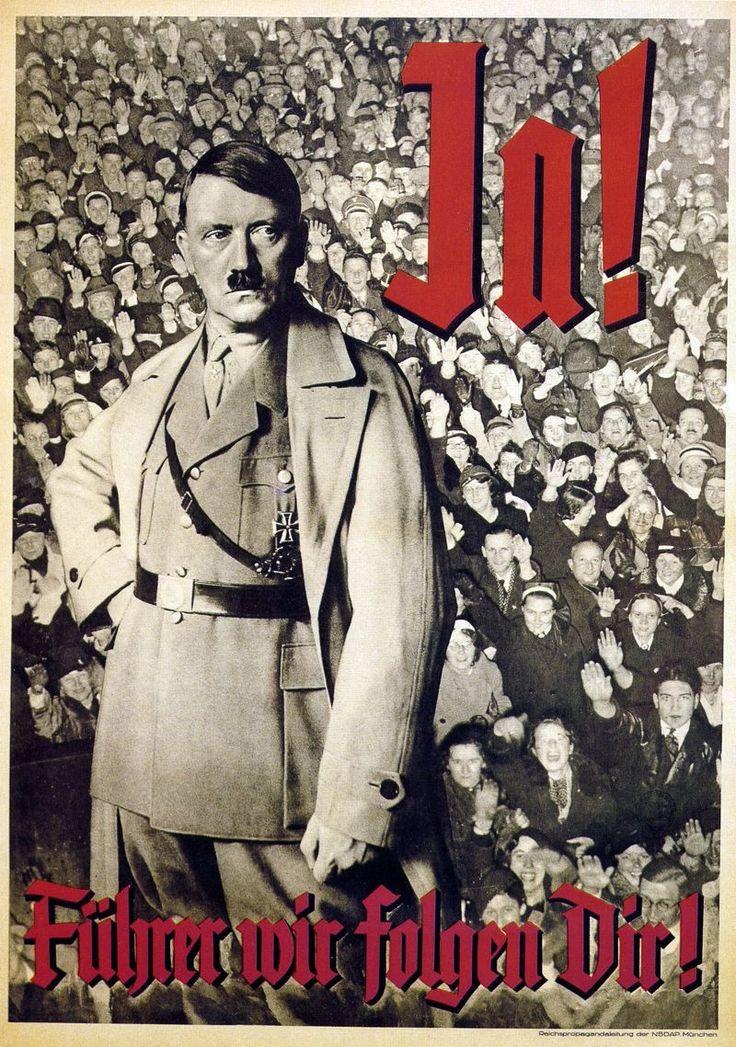 Gdy nie było jeszcze wiadomo, do czego Hitler jest zdolny niektórzy rzeczywiście mogli widzieć w nim wodza i wzór. Po doświadczeniach II wojny światowej taka opinia nie mieści się jednak w głowie... Na ilustracji niemiecki plakat propagandowy.