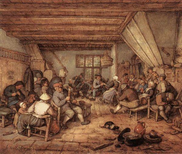 """Chłopskie pijaństwo przeszło już niemal dziś do legendy. Jak najlepiej zatem było pozbyć się niewygodnych świadków? Wystarczyło poczęstować ich gorzałką. Na ilustracji obraz Adriaena van Ostade """"Chłopi ucztujący w tawernie""""."""
