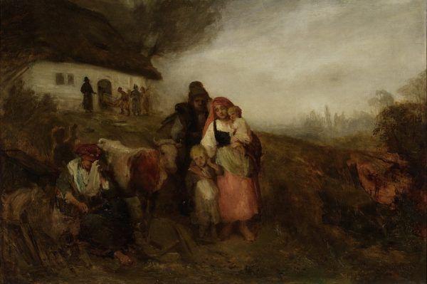 """Chłopi na przełomie XVIII i XIX wieku egzystowali na skraju śmierci głodowej. Ci, którym udało się trafić na dwór jako osobista pańska służba, wygrywali los na loterii. Niektórym jednak było mało. Na ilustracji obraz Aleksandra Kotsisa """"Bez dachu""""."""