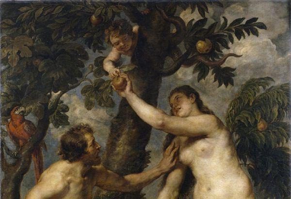 """Na obrazie Rubensa """"Upadek człowieka"""" Adam i Ewa wyraźnie sięgają po jabłko."""