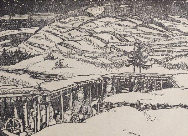 Legioniści na pozycjach pod Łowczówkiem.
