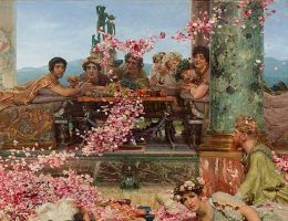 """Cesarz zajmujący się wyłącznie rozrywkami i orgiami, a do tego chcący zmienić płeć? Nawet dla starożytnych to było za wiele. Na ilustracji fragment obrazu Lawrence Alma-Tademy """"Róże Heliogabala""""."""