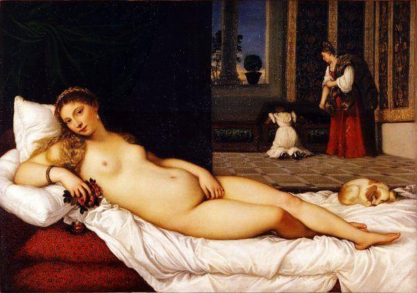 """Hybristika była uroczystą ucztą odbywającą się w starożytnym mieście Argos ku czci Afrodyty. Było to jedyne takie święto, podczas którego mężczyźni i kobiety wymieniali się strojami. Na ilustracji obraz pędzla Titiana przedstawiający """"Wenus z Urbino"""" (1534)."""