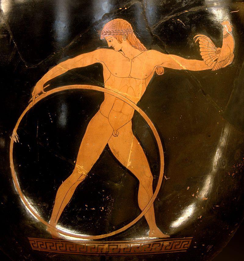 Ganimedes, ukochany boga Zeusa, trzymający prezenty od swojego boskiego (i zarazem starszego!) kochanka. Malunek na greckiej wazie.