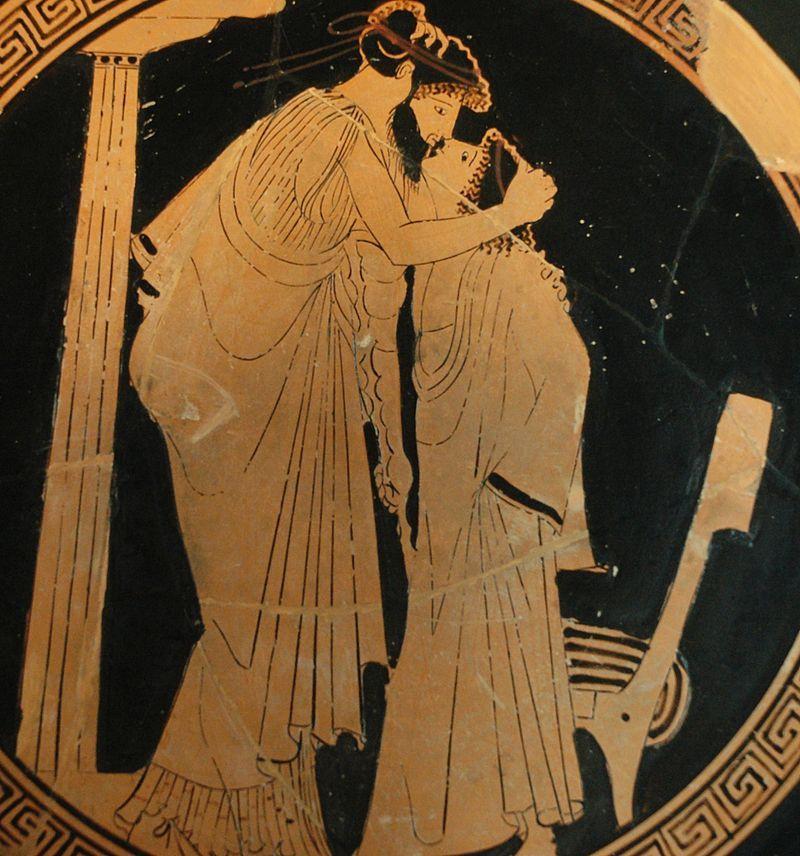 """Chłopcy w starożytnej Grecji stawali się przedmiotem zainteresowania dorosłych mężczyzn już ok. 12 roku życia. Na ilustracji """"Pocałunek"""" malarza Bryzeidy z ok. 480 r. p.n.e."""