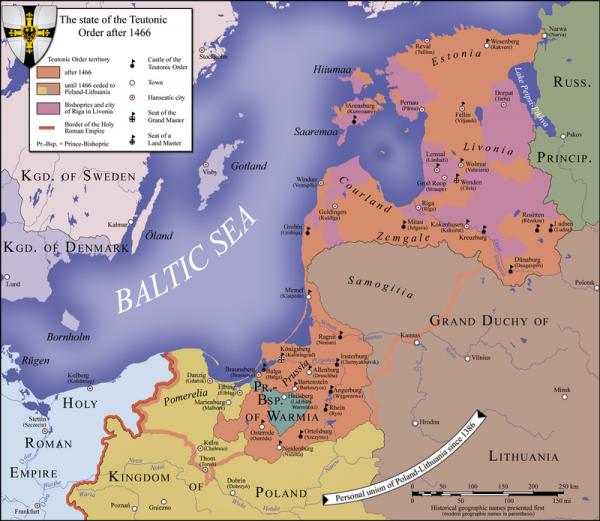 """Krzyżacy nie tyle dorobili się na """"nawracaniu"""" pogan, ile stworzyli prawdziwe królestwo. Na ilustracji mapa pokazująca zasięg państwa zakonu krzyżackiego w połowie wieku XV."""