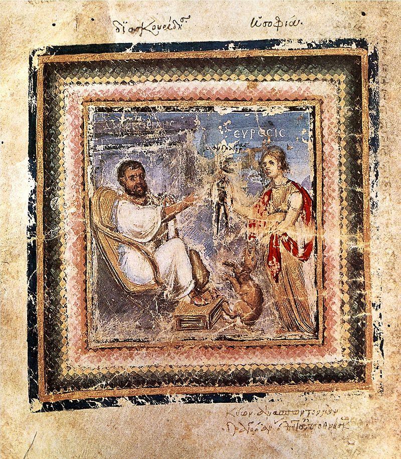 Dioskorides był greckim lekarzem i botanikiem żyjącym i pracującym w Rzymie za czasów Nerona. Stworzył 5-tomowe dzieło, będące najważniejszą księgą o ziołach w czasach starożytnych (na ilustracji jedna z kart dzieła).